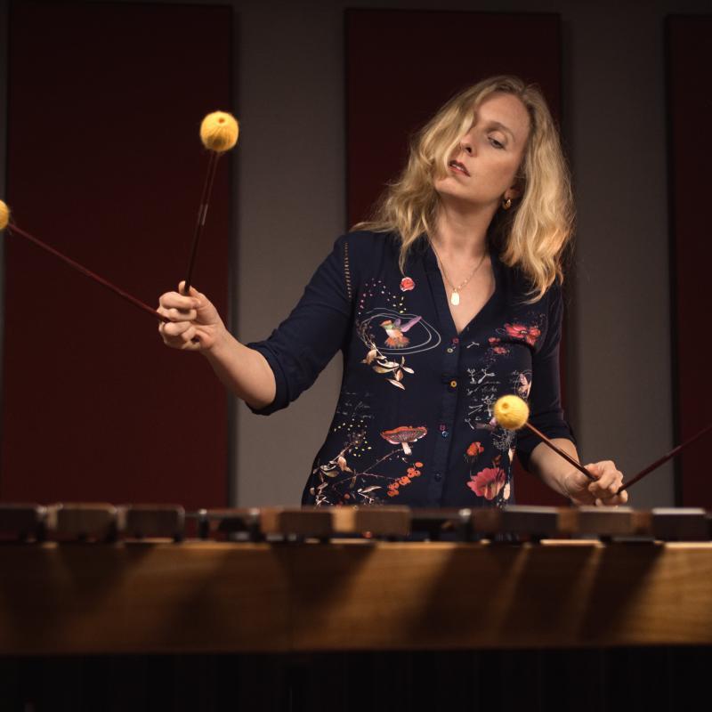 Inez Ellmann playing a Marimba